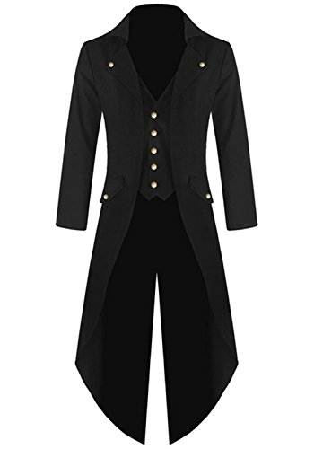 Farktop Herren Steampunk Vintage Tailcoat Jacke Gothic Viktorianischer Mantel Smoking Uniform Halloween Kostüm - Schwarz - X-Groß