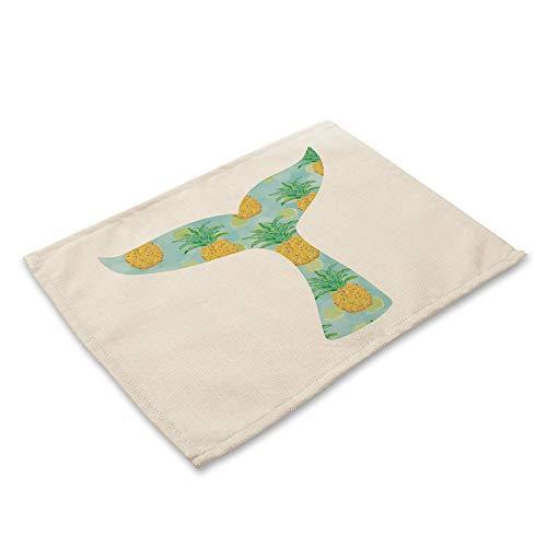 ZCHPDD Meerjungfrau Waage Gedruckt Westlichen Tisch Matte Isolierung Tischdecke Baumwolle Leinen Kunst F 42 * 32Cm * 8St