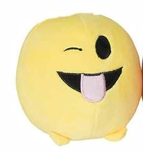 Emoji Méchant Style Visage émoticônes jaune coussin rond oreiller peluche peluche douce