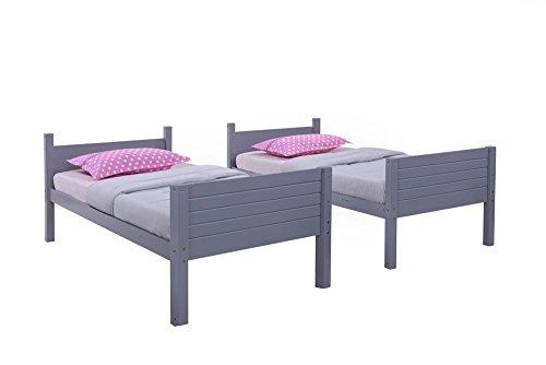 Happy Beds Dakota Bunk Bed Wooden Grey Finish Modern 2x Memory Foam Mattress 3' Single 90 x 190 cm