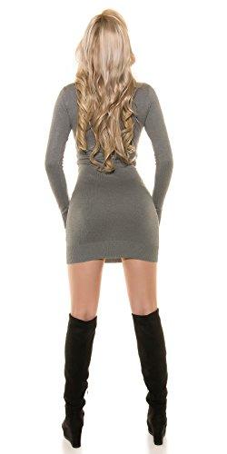 Strickkleid mit sexy Einblick Grau
