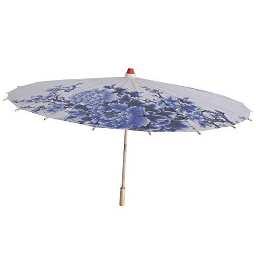Baoblaze Holzgriff Regenschirm Sonnenschirm Tanz Schirm Stockschirm mit Chinesischen Malerei Design - Porzellan Muster