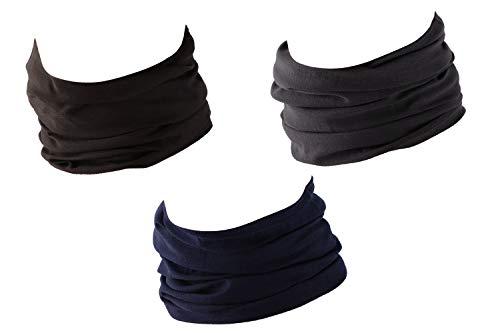 Hilltop 3 x Motorrad Multifunktionstuch, Schlauchtuch, Sport-Halstuch, Bandana / 3-er Set in aktuellen Designs, 3er Set/Farben:uni selektion