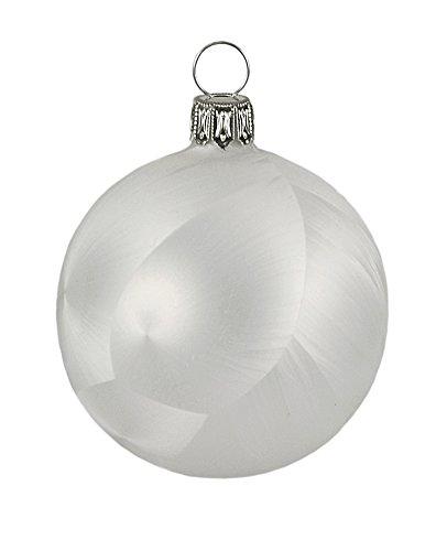 Thüringer Weihnacht Christbaumkugel Set, uni, Eislack (Eisblumeneffekt) weiß (7 cm Kugel - 3 Stück)