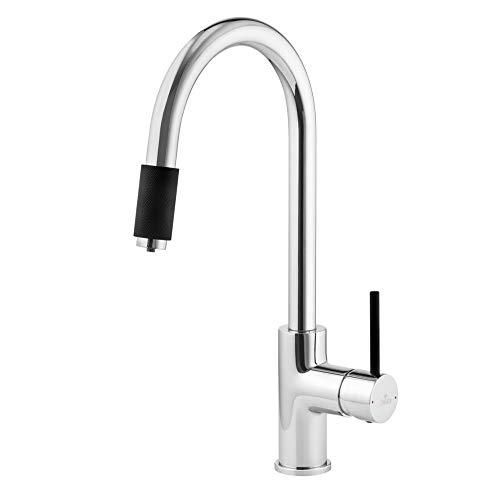 ASTER Robinet 3 voies Chromé/noir avec bec C pour filtre à eau osmose filtre à eau potable 3 voies