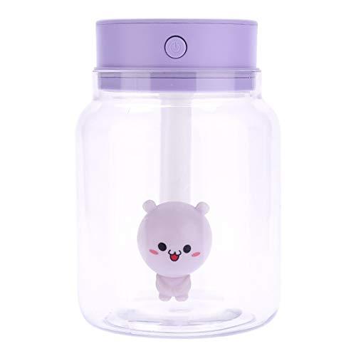 Ofliery Candy Jar Transparentes Difusores ultrasónicos portátiles Humidificador de Niebla fría 400 ml Sin Agua Apagado automático (Color : Purple)