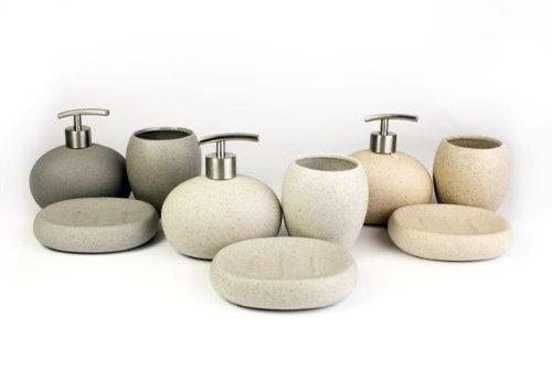 The Contemporary Living Company - Set per bagno composto da 3 pezzi, effetto pietra bianco