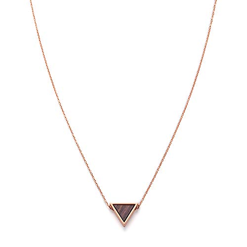 Kerbholz Damen Holzschmuck - Geometrics Kollektion Dreieck Halskette mit Anhänger aus Naturholz, roségold,  größenverstellbar (Kettelänge 38 + 5 cm)
