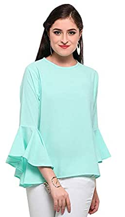 Istyle Can Women's Top (Crepe top with Flute Sleeves) (Aqua Green, X-Small)