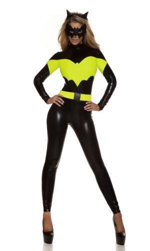 �ck schwarz & gelb/Wet Look/Batgirl Super Hero Jumpsuit Marvel Comic Con Fancy Dress Hen Night Halloween Party Größe UK 10–12 EU 38–40 (Con Kostüme)