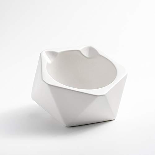 SZ-CWYP Pet Bowl Cat Bowl Keramik Katzenfutter Bowl Mode Katze Ohr Form flaches Gesicht Pet Cat Bowl,O