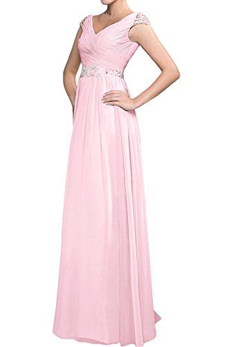 ... TOSKANA BRAUT Elegant Neu V-Neck Falte Kurzarm Abendkleider Lang  Partykleid Promkleider Rosa ...