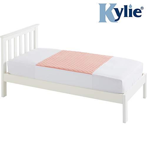Kylie Bettschutzauflage | Rosa | 3 Liter | Einzelbett 91 x 91 cm | Waschbare saugfähige Inkontinenzunterlage | Wasserdichte Unterlage | Mit Flügel 50cm | Premium-Qualität und Komfort
