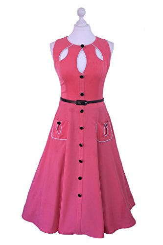 1950s 1960s Vintage Retro Swing Rockabilly noir Rose Robe de fête Rose - Salmon Pink