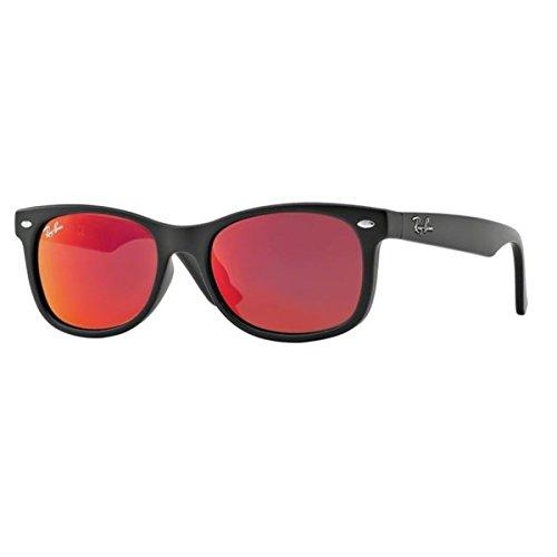 Ray-Ban Unisex Sonnenbrille New Wayfarer Junior, (Gestell: Schwarz, Gläser: rot verspiegelt 100S6Q), Medium (Herstellergröße: 47)