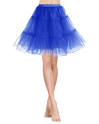 Gardenwed Tutu Damenrock Tüllrock Petticoat Unterrock 50er Kurz Ballet Tanzkleid Rockabilly Minirock Underskirt Royal Blue ()