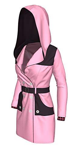 DealTrade Kairi Trenchcoat Kostüm Anime Cosplay Damen Mittellange Rosa Kapuzenjacke Kleidung mit Gürtel Verkleiden Merchandise Top (Kairi Cosplay Kostüm)