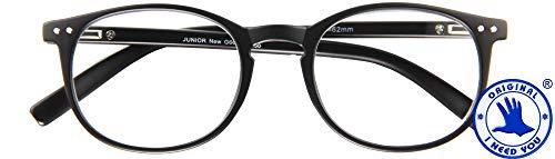 I NEED YOU JUNIOR New, G66600, Panto-Kunststoffbrille, Metallfederscharnier, schwarz, 2 Dioptrien
