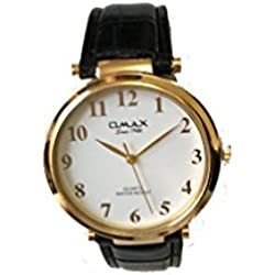 Omax Men's Wrist Watch Leather Strap and White Dail