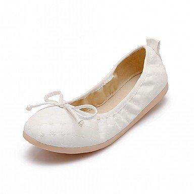 Wuyulunbi @ Zapatos Para Mujer Primavera Otoño Comfort Novedad Ligero Pisos Suelas Planas Punta Redonda Bowknot Para Ropa Casual Plata Blanca Us6 / Eu36 / Uk4 / Cn36
