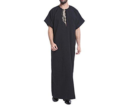Schwarz Männlich Kostüm - zhxinashu muslimische Männer Roben Saudi Arabien Kostüm Casual Männlichen Kaftan Kleidung,Schwarz,XXL