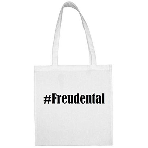 Tasche#Freudental Größe 38x42 Farbe Weiss Druck Schwarz
