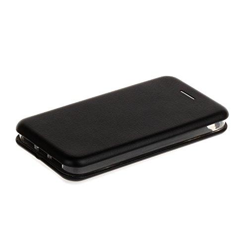 YHUISEN Solid Color Premium-PU-Leder und weicher TPU Gummischutz Mappen-Entwurfs-Flip Folio Case Schutzhülle mit Karten-Slot / Ständer für iPhone SE 5S 5 ( Color : Silver ) Black