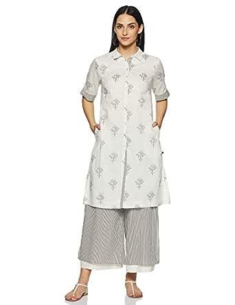 BIBA Women's cotton a line Salwar Suit Set (SKD5993_ Peach_ L (36))