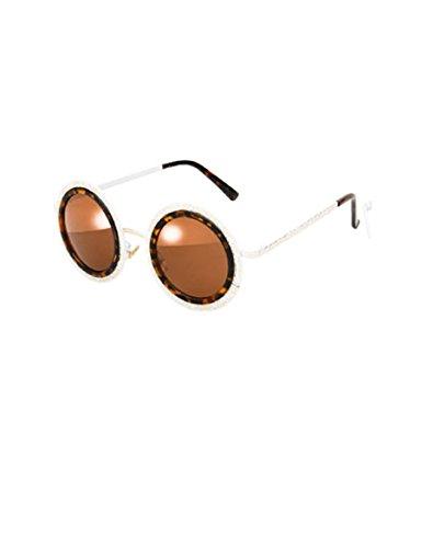 Der neue Trend der Metall geschnitzten runden Sonnenbrillen Sonnenbrillen Männer und Frauen Paare Abschnitt Rahmen Brillen ( farbe : 1 )