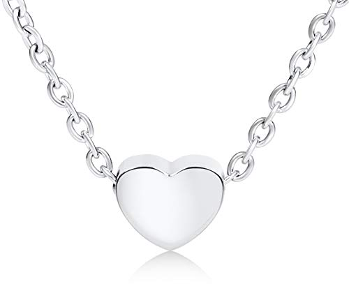 Ansané | Filigrane Damen Herzkette - in Rosegold, Silber oder Gold | mit Geschenkbox | 45cm + 5cm (extra) | Heart Necklace