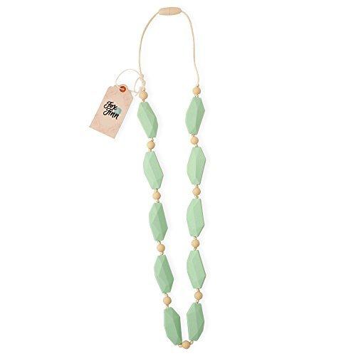 Image of Fox & Finn 'Sophia' Silikon-Halskette speziell für Mütter mit zahnenden Babys, aus Seidenschnur, mit Sicherheitsknoten, reißt Haare nicht aus, fällt ca. 35 cm nach unten