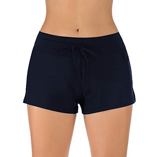 IceUnicorn Badeshorts Damen Badehose Kurze Boardshorts Schwimmshorts Bikinihose Strand Wassersport Short UV Schutz(Marine, Etikettgr.S)