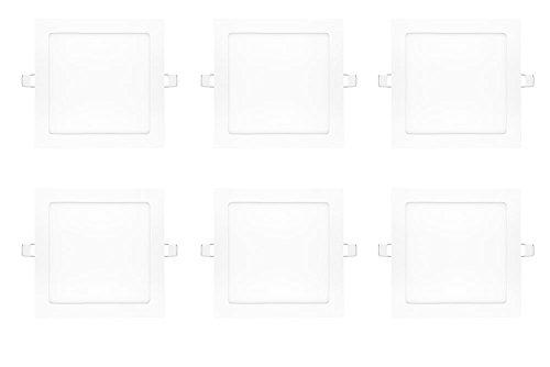 NuLoXx 6er Pack LED Panel Square 18W/760 6000K kaltweiß (Tageslicht) 1350LM AC 80…260V, 120° Abstrahlwinkel, Einbau-Deckenleuchte quadratisch ersetzt 40 Watt, Herstellergarantie: 2 JAHRE!!