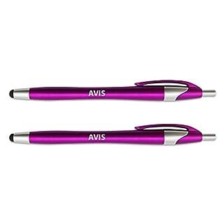 Aaliyah Eingabestift mit einziehbarem schwarzem Tinten-Kugelschreiber, 2-in-1Kombination funktioniert auf jedem Touchscreen-Gerät wie iPad, iPhone, Tablets und mehr–2er-Pack–Rosa rosa Avis