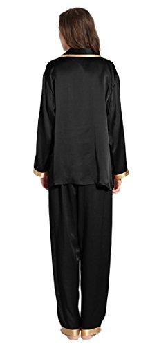 LILYSILK Set pigiama da Donna con Bracciale oro di 22 momme Seta Nero