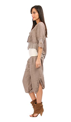100 % LIN - Gilet ROSY - Femme Taupe