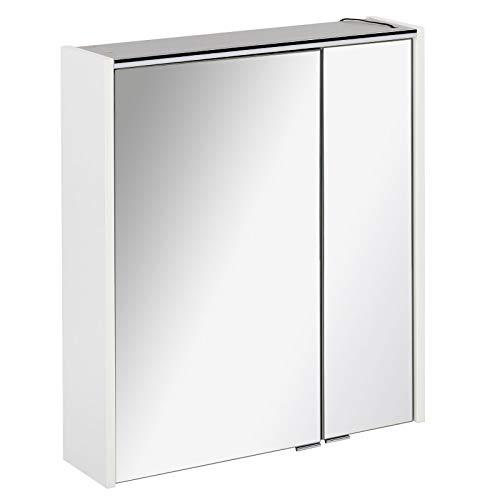 FACKELMANN zweitüriger Spiegelschrank Bad LED Beleuchtung 60 cm weiß matt Denver