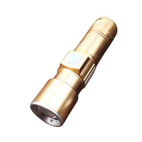 P12cheng LED-Taschenlampe, Handlampe, Mini-USB-LED, zoombar, helle Taschenlampe für Outdoor-Aktivitäten, Wandern Luxury Golden Stun Pen