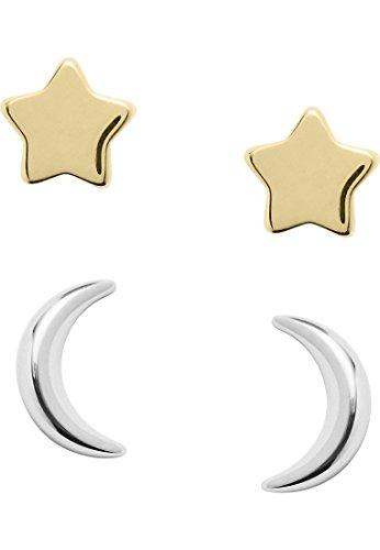 Fossil Ohrringe JFS00430998 Damen Ohrstecker Stern Mond Wish upon a star Sterling-Silber 925 Bicolor Gold (Star Black Ohrringe)