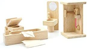 Lakshya Wooden Dollhouse Furniture Set with Lounge, Bathroom and Kitchen