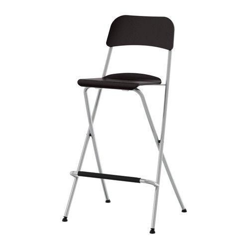 Ikea franklin-sgabello da bar con schienale pieghevole marrone nero argentato