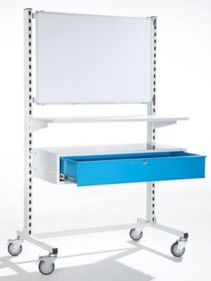 EUROKRAFT Mobiles Werkstattpult mit Einzelschublade und Weißwandtafel, Breite 1010 mm -...