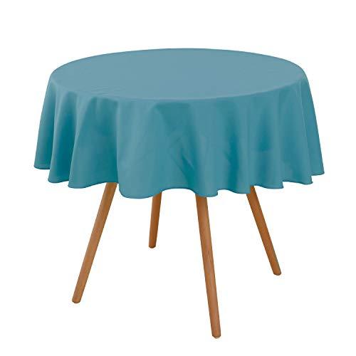 Deconovo Rund Tischdecke Lotuseffekt Wasserabweisend Tischwäsche Tischtuch 140 cm Himmelblau