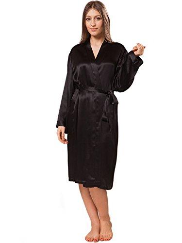 ElleSilk 100% Natur-Seide Nachtwäsche für Frauen, Maulbeerseide Nacht Robe für Duschen/Schlafen, Hautfreundlich, Schwarz, M (Dusche Natur)