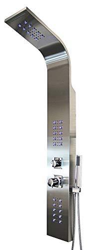 Edelstahl gebürstet LED Duschpaneel Duschsäule Regendusche Handbrause Wasserfall Massage Sanlingo