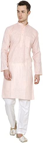 Devyom Men's Cotton Straight Regular Fit Kurta (Pe