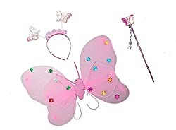 Magische Fee Flügel Stab Stirnband Fancy Dress up Kostüm Outfit (Doppelschicht, Hell-Pink)