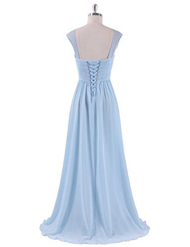 Ever Pretty Damen Elegant Ärmlos Lang Abendpartykleid 08863 Blau