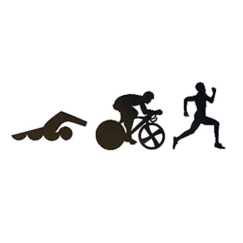 RJSYT 2PCS Autoaufkleber Kreative Sport Triathlon Schwimmen Fahrrad Laufen Auto Aufkleber Wasserdicht Aufkleber Für Alle Auto Model22.9Cm * 7.4Cm