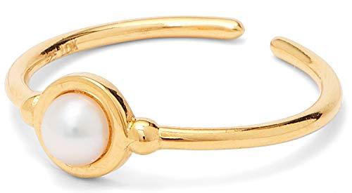 Louise Kragh Damen Perlenring Gold Colour: Mit runder Frischwasserperle elegant und klassisch 925 Silber hochglänzend vergoldet - RCOL0401PEAg